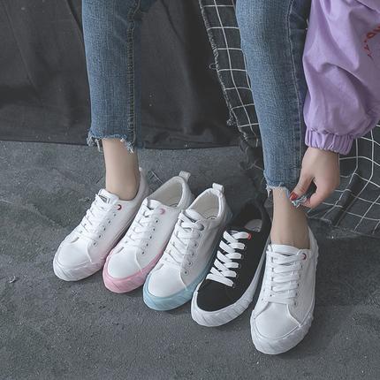 蝶恋朵帆布鞋女2018秋季新款学生韩版街拍原宿小白鞋ulzzang布鞋