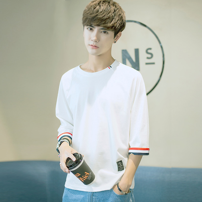 Summer loaded men's short-sleeved T-shirt Korean version 7 seven sleeves loose shirt 2019 new students on the clothes Tide brand