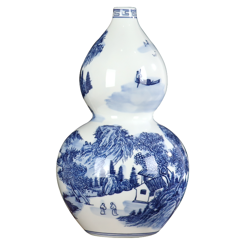 Gourd blue and white porcelain vase Chinese jingdezhen ceramics archaize furnishing articles sitting room flower arranging landscape decoration