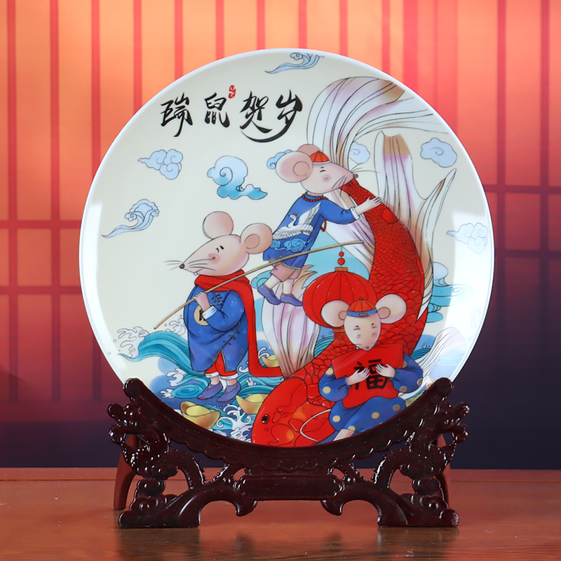 Chinese zodiac year of the ox sat dish ceramics home furnishing articles rich ancient frame wine sitting room adornment office plates