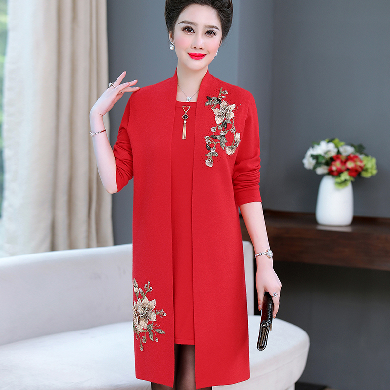 Wedding mother noble wedding dress spring and autumn female two-piece suit long festive mother-in-law fashion wedding dress female