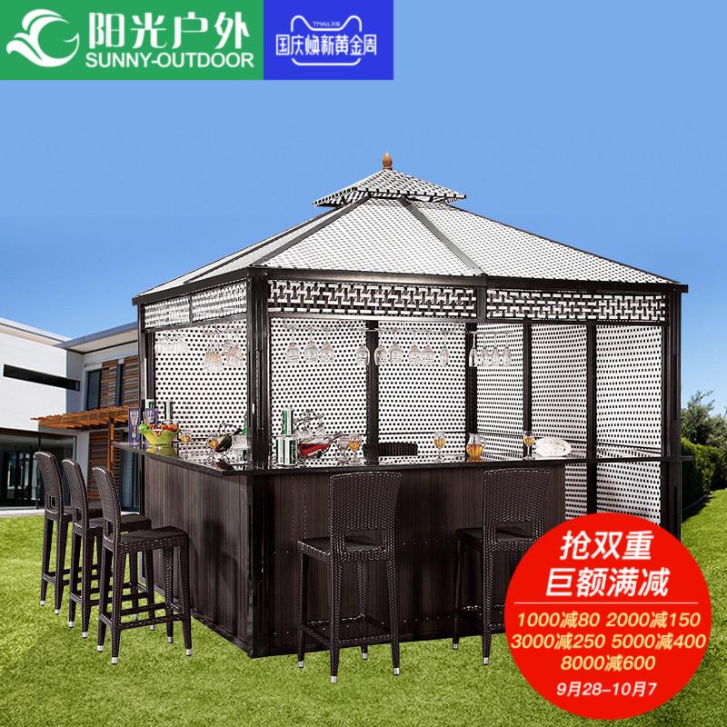 阳光户外凉亭木屋庭院遮阳篷雨棚花园露台欧式藤编方形四角亭子