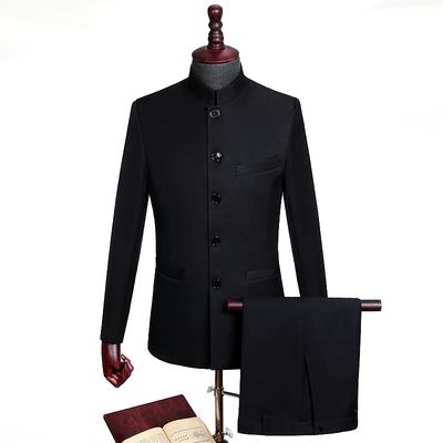 Men Stand Collar Chinese Tunic Suit Coat+Pants Male Blazer Chinese Traditional Party Men Business Suit Slim Custom Fit
