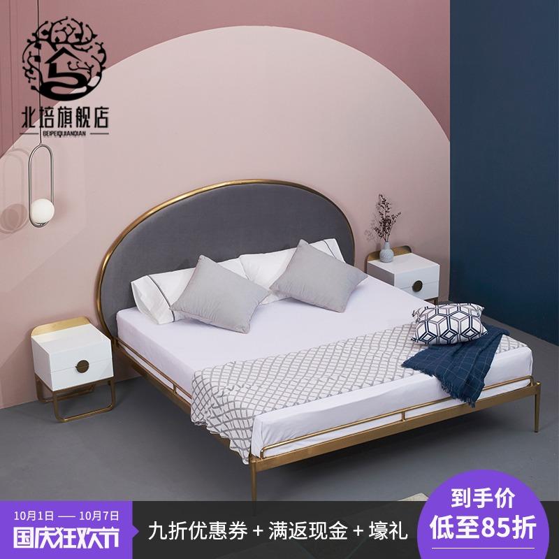 铁艺床不锈钢公主床双人床金色铜床1.5米钢架金属床北欧现代铁床