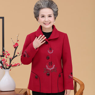 Grandma autumn dress middle-aged and elderly female mother dress spring and autumn festive woolen shirt embroidered coat wedding banquet elderly clothes