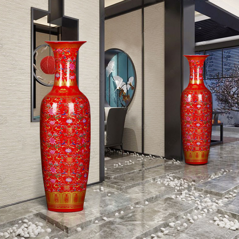 Jingdezhen ceramics China red large vases, Chinese style to decorate the living room the opened to heavy large furnishing articles