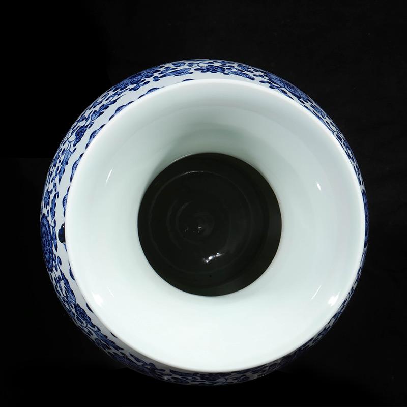 景德镇陶瓷器仿乾隆手绘青花瓷花瓶插花新中式客厅玄关装饰品摆件
