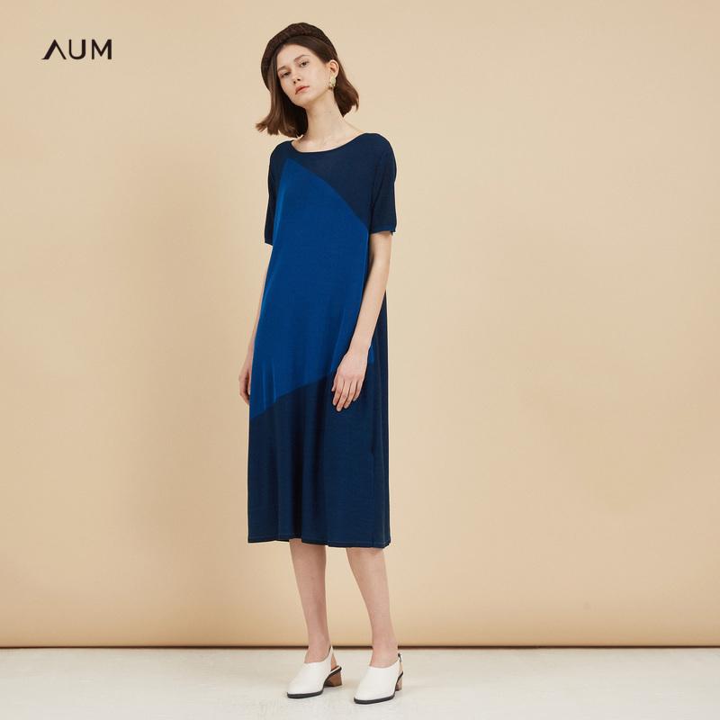 AUM噢姆玛丝菲尔2018秋装新款短袖撞色圆领针织中长款气质连衣裙