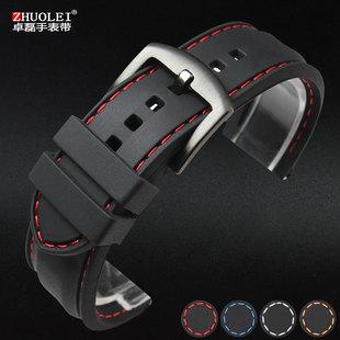 硅胶手表带 橡胶带男运动表链20 22 24mm 黑色防水防汗柔软配件