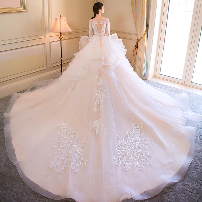 婚纱礼服2018新款新娘一字肩齐地欧美拖尾森系结婚公主梦幻宫廷轻