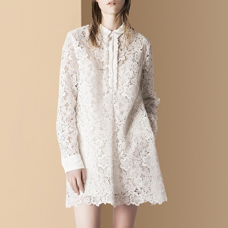 2018秋装新款女装优雅气质白色欧洲站镂空水溶蕾丝连衣裙女中长款