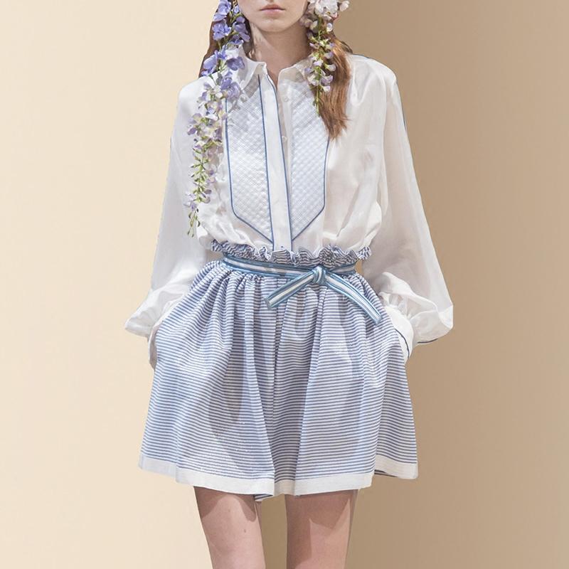 2018春夏季新款女装复古时尚气质长袖白衬衫条纹短裤套装两件套潮