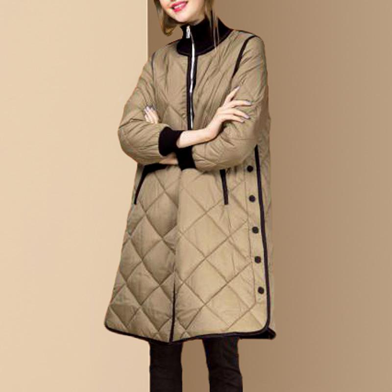 2018冬季新款欧货时尚立领白鸭绒宽松羽绒服女中长款保暖外套潮