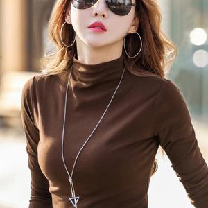 半高领打底衫女长袖t恤2019秋冬新款修身内搭纯棉黑色洋气上衣潮