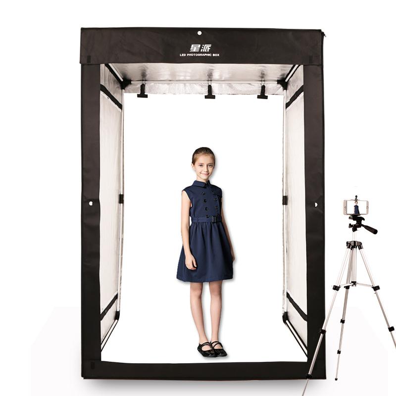 LED服装摄影棚180CM柔光箱 模特拍照摄影灯箱柜式服装景物摄影棚