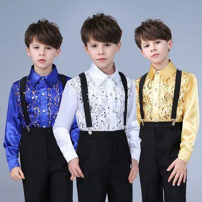 Children's sequins shirt dress chorus suit host clothes performance clothing