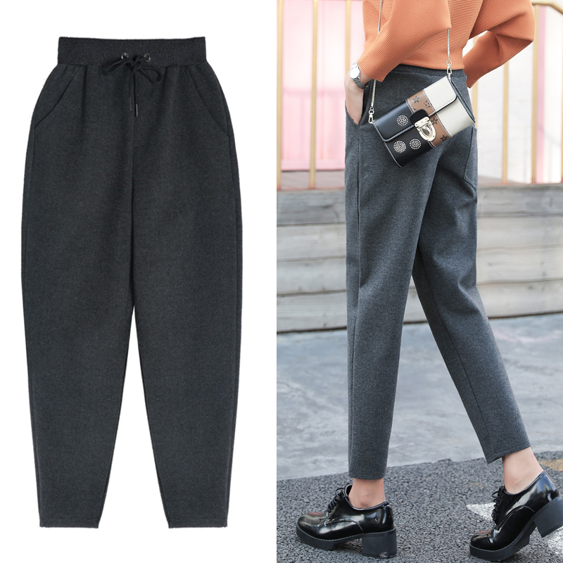 Harem pants banana 2018 autumn and Winter new Korean loose straight casual radish pants tapered nine woolen pants