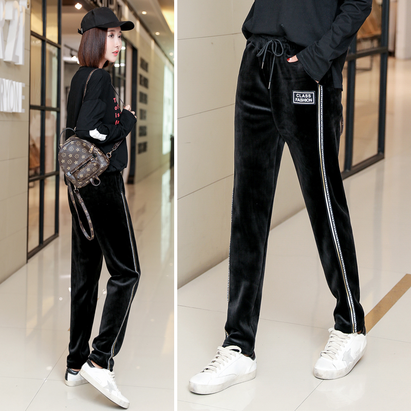 Gold velvet sports pants female 2018 autumn and Winter new Korean version of the high waist was thin and velvet padded loose casual long Wei pants