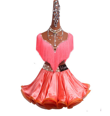 Latin Dance Competition Dress Performing Dress Princess Skirt Orange Pink tassel Topcoat Fishbone Curling