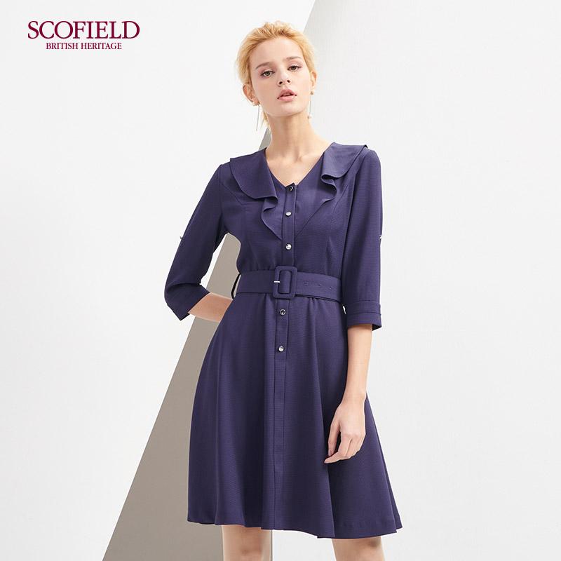 SCOFIELD18年春季新款七分袖连衣裙 红色V领腰带SFOW823070