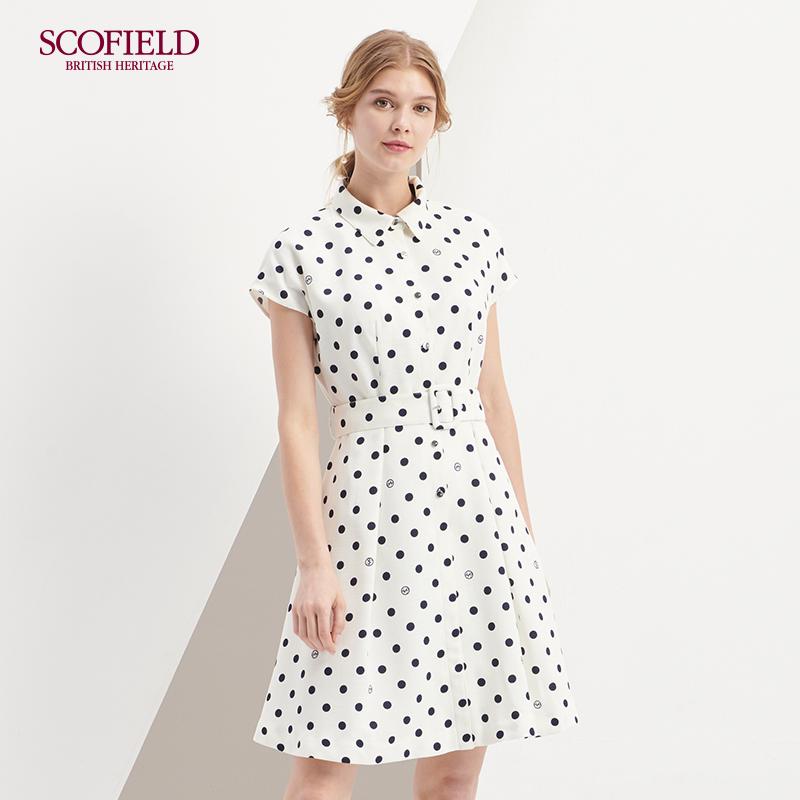SCOFIELD女装2018夏季新款优雅无袖中长款圆点连衣裙 SFOW825070