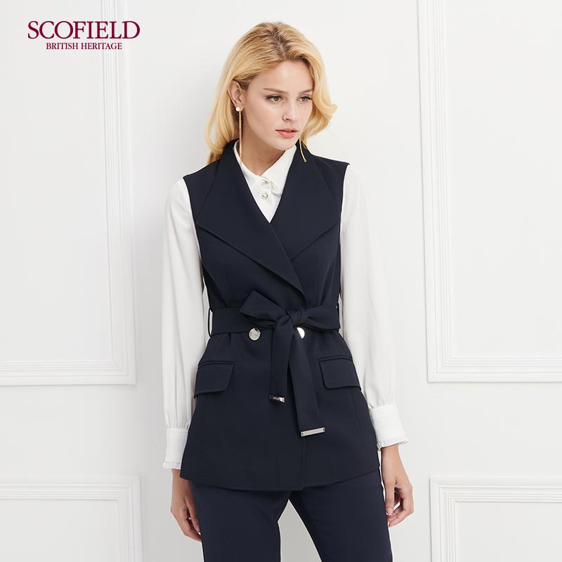 SCOFIELD女装 2018时尚干练单排两粒扣无袖夹克外套 SFVW83802Q