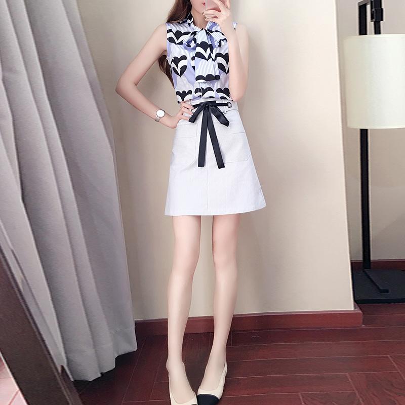 夏天2018新款女装潮上衣配短裙时尚港风两件套小香风俏皮bf套装女