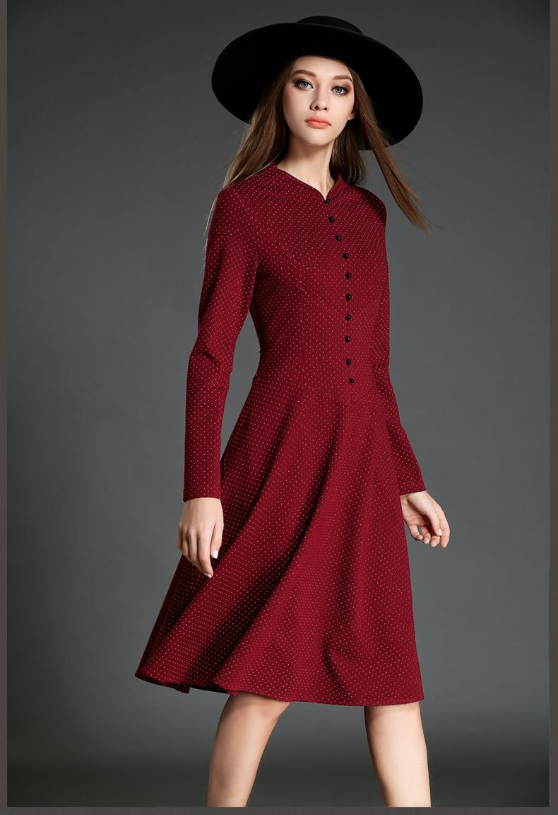 2017秋装新款韩版女装大码长袖连衣裙名媛秋冬修身显瘦中长款裙子