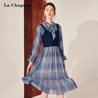 雪纺连衣裙女拉夏贝尔2018秋装新款格纹长袖两件套收腰裙中长裙子