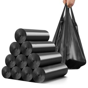 京惠思创加厚手提背心式垃圾袋黑色家用中号桶用清洁袋100只装