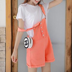 实拍套装女新款韩版条纹短袖+背带短裤宽松显瘦两件套