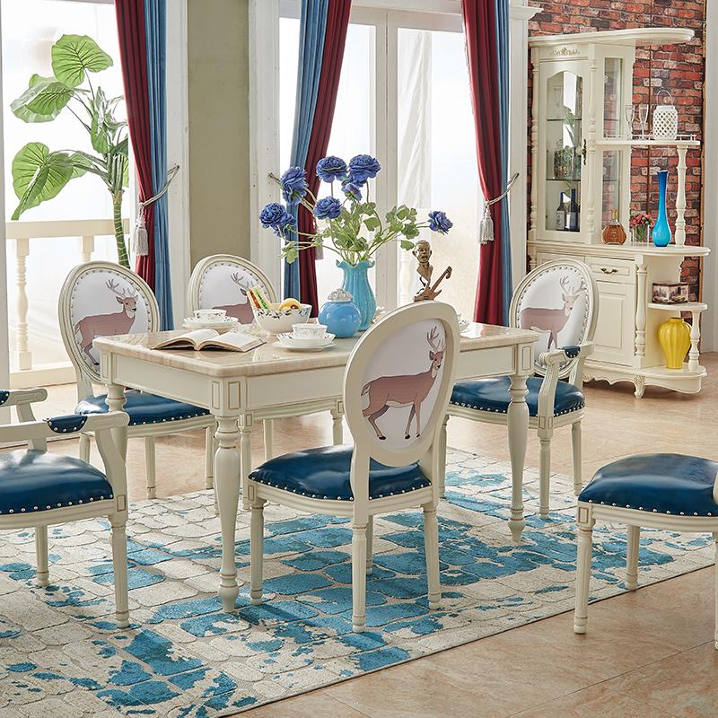美式田园餐桌椅组合实木长方形餐台欧式饭桌子白色大理石餐桌