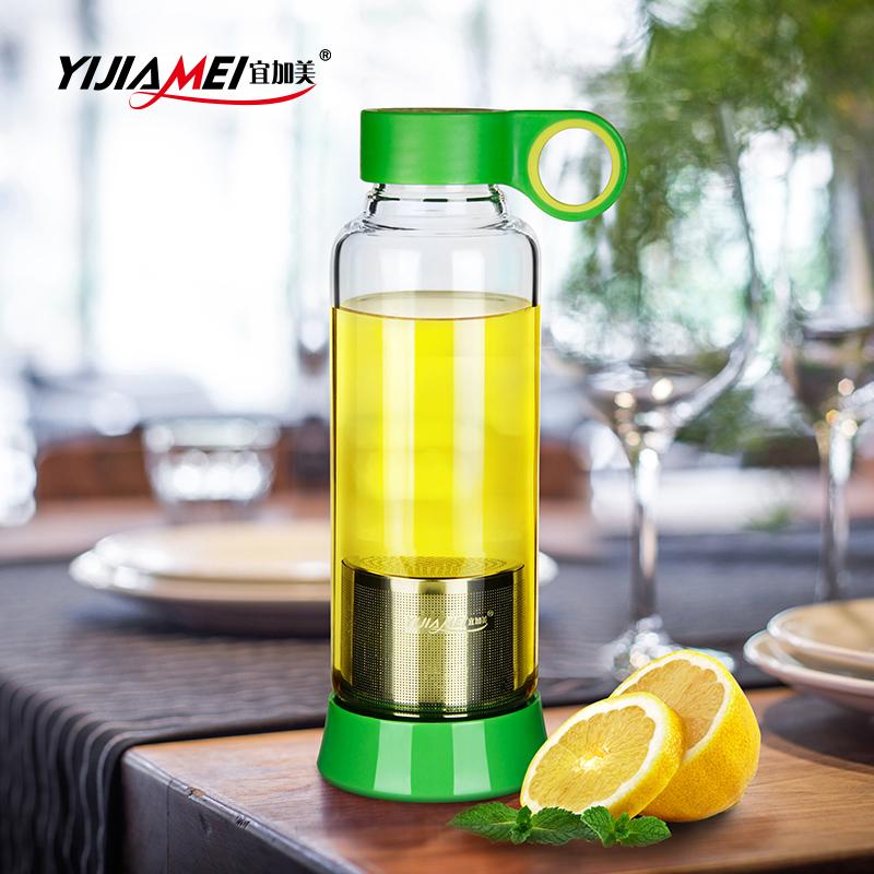 宜加美 创意便携旅行杯透明带盖泡茶玻璃杯带滤网运动水杯子防漏
