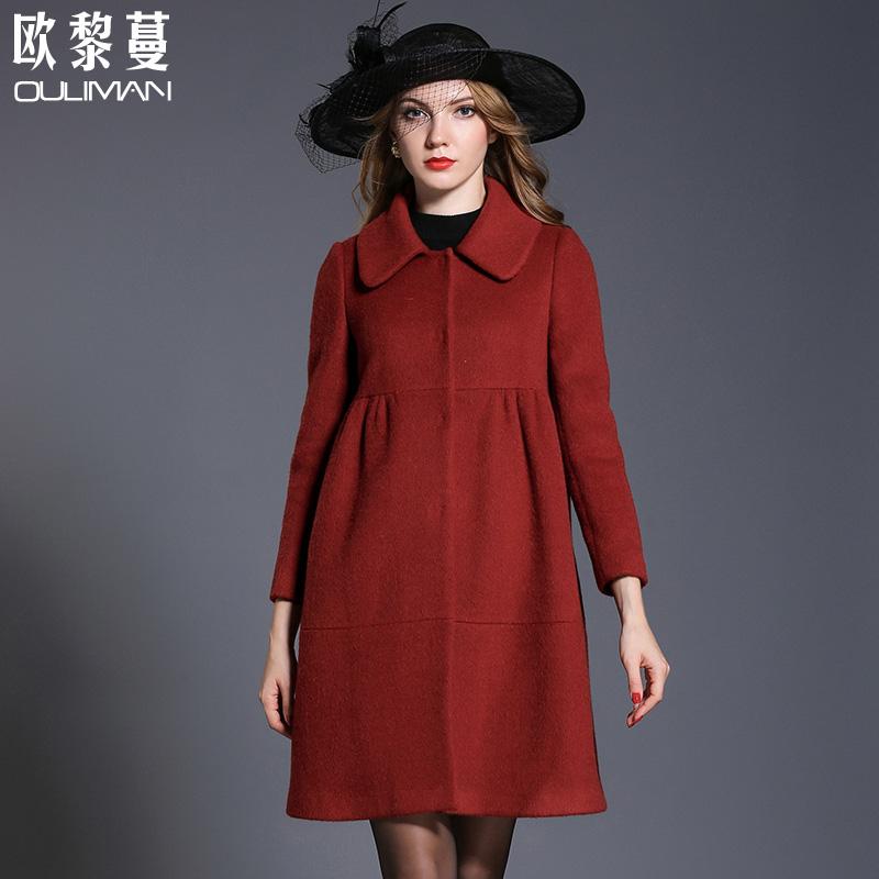 欧黎蔓阿尔巴卡羊驼绒大衣女中长款2018新款翻领大码双面羊毛大衣