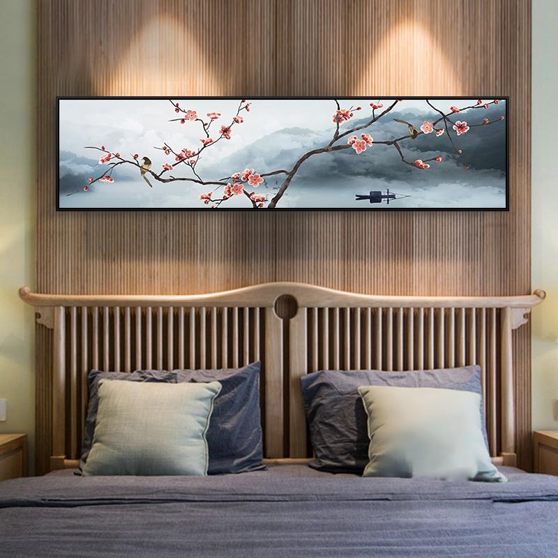 中式装饰画新中式挂画沙发背景墙壁画现代卧室床头画梅花禅意风景