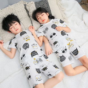 Children's short-sleeved suit summer boys and girls cotton pajamas set thin section kids baby home service jacquard suit