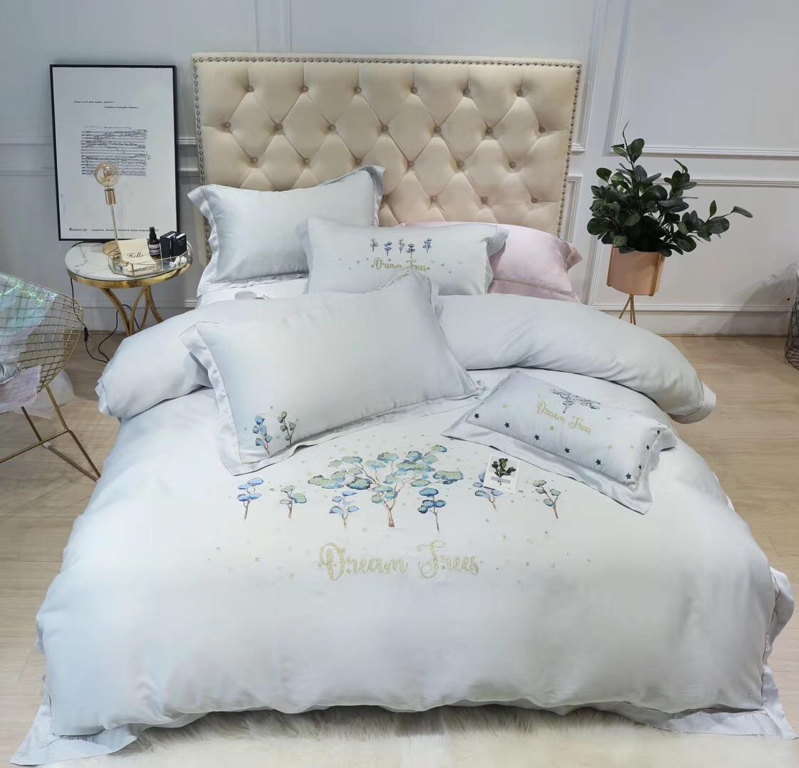 60支天丝四件套床品1.8m双人床4件套床上用品床单被套1.5米简约