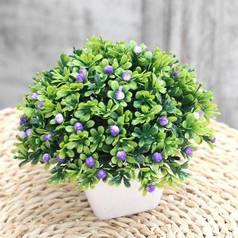 бонсай Пластиковый цветочный горшок искусственный цветок установить счетчик перегородка домашнего декора моделирование зеленые растения в горшках небольшой трава мяч бонсай