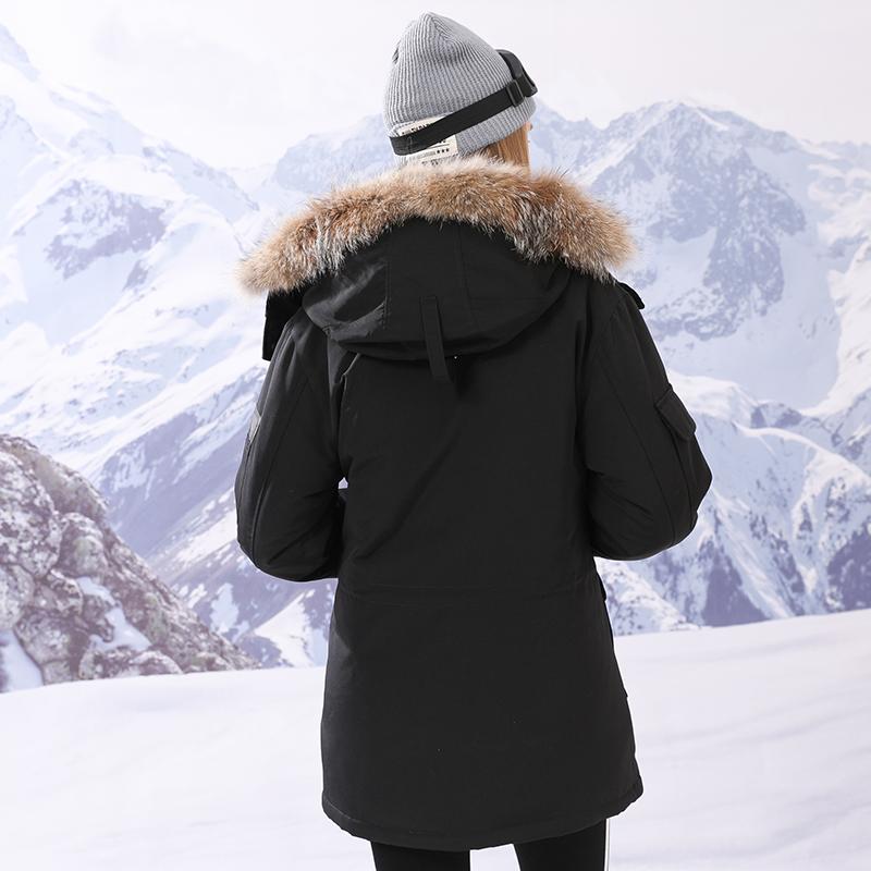 雅鹿羽绒服 女中长款连帽加厚保暖大毛领外套