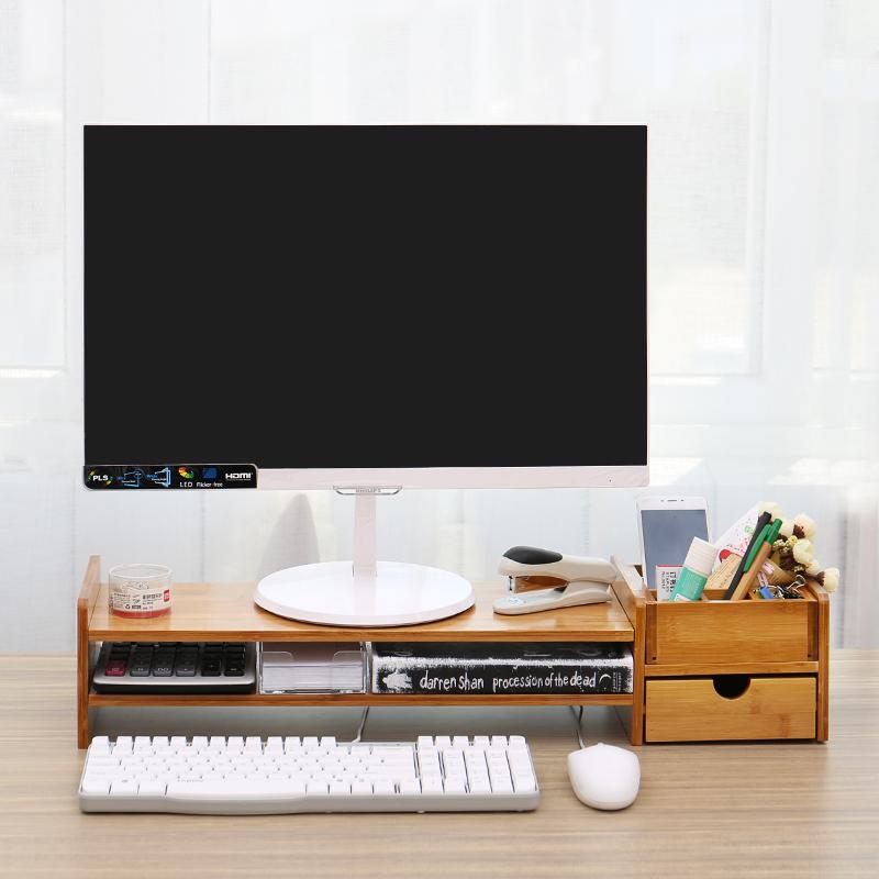 台式电脑显示器增高架子底座支屏架办公室实木桌面收纳盒键盘整理