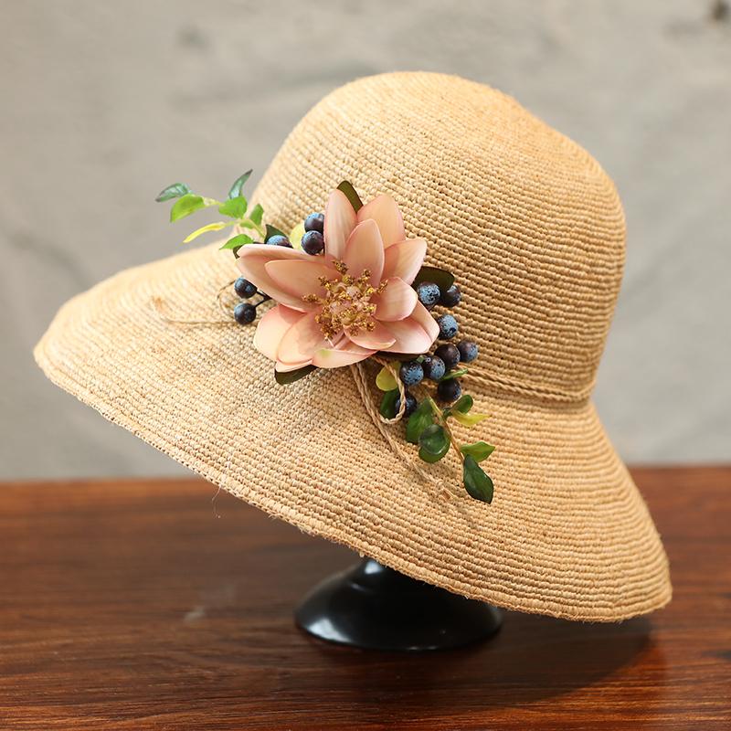拉菲草帽女夏天防晒沙滩帽子海边出游遮阳帽休闲百搭可折叠太阳帽