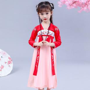 女童汉服襦裙儿童古装齐胸唐装中国风公主裙小女孩超仙连衣裙新款