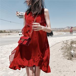 夏季新款法式气质蕾丝连衣裙女小清新荷