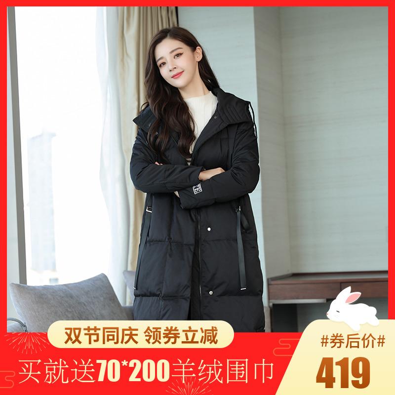 加肥加大码胖MM羽绒服女中长款2018冬装新款加厚过膝羽绒衣200斤