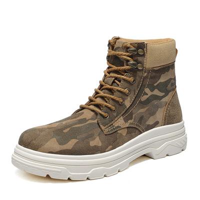 马丁靴男中帮百搭迷彩短靴男士英伦沙漠工装鞋军靴秋季高帮潮靴子