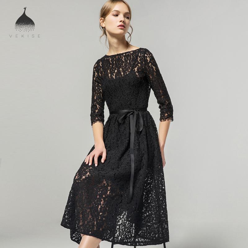 黑色蕾丝中袖连衣裙气质收腰中长款裙子2018夏装新款女士韩版夏季