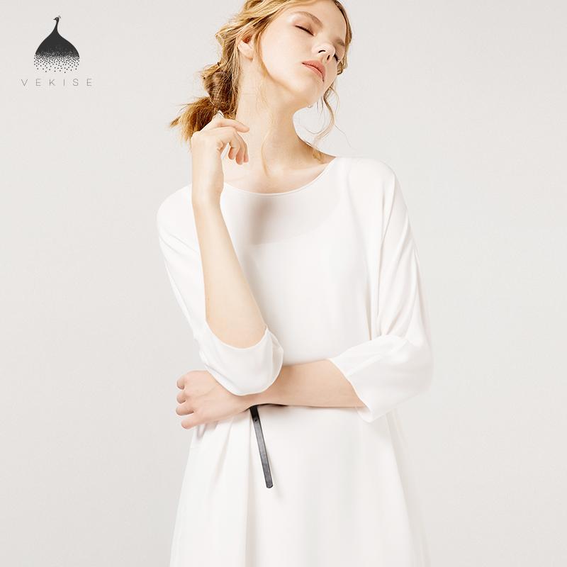 白色七分中袖真丝连衣裙女2018早秋新款纯色气质桑蚕丝中长款裙子