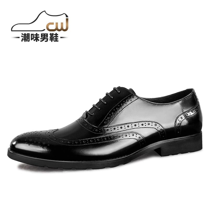 潮味布洛克雕花男鞋 英伦潮流牛津欧版皮鞋 真皮尖头复古皮鞋男士