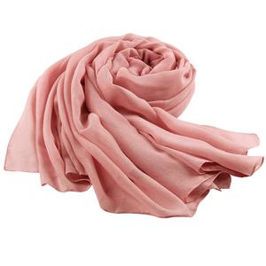 上海故事棉麻围巾秋冬季粉色亚麻长条丝巾女春秋纯色百搭薄款纱巾