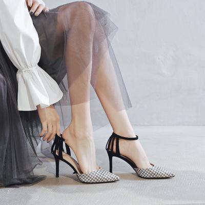 一代佳人包头凉鞋女2019夏季新款黑色一字带高跟鞋细跟尖头罗马鞋